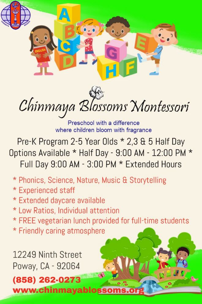 Chinmaya Blossoms Montessori - Registration for 2017-18