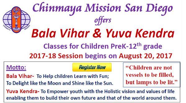 Chinmaya Mission San Diego Bala Vihar and Yuva Kendra Registration for 2017-18